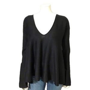 Free People | Black V-Neck Bell Sleeve Sweater